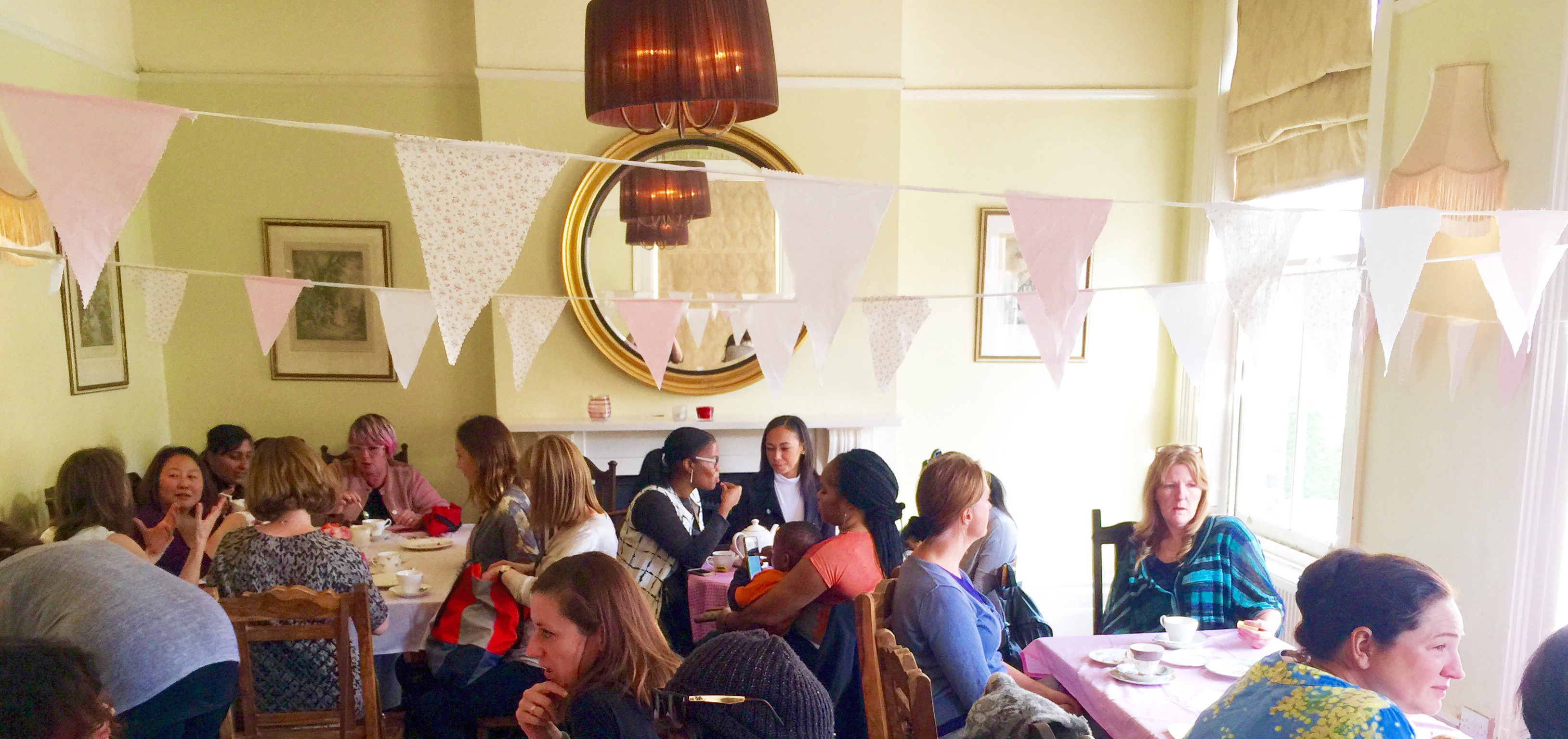 macmillan coffee morning with Glam Hatters