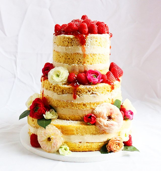 Naked Wedding Cake at Glam Hatters