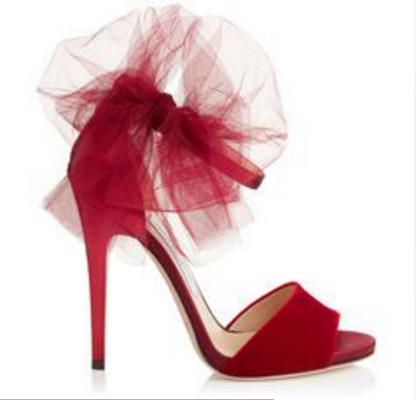 Jimmy Choo's latest red shoes with red tulle bows.
